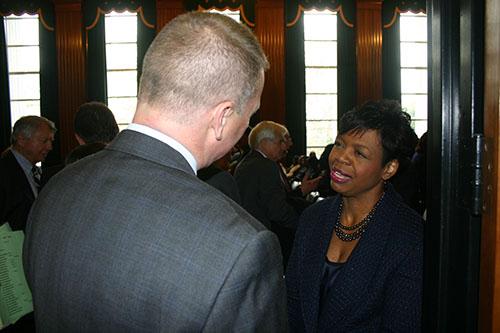 NCPBA President Randy Byrd congratulates Justice Beasley